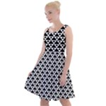 Black and white Triangles pattern, geometric Knee Length Skater Dress