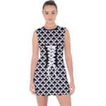 Black and white Triangles pattern, geometric Lace Up Front Bodycon Dress