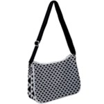 Black and white Triangles pattern, geometric Zip Up Shoulder Bag