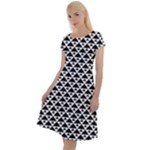 Black and white Triangles pattern, geometric Classic Short Sleeve Dress