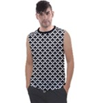 Black and white Triangles pattern, geometric Men s Regular Tank Top
