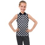 Black and white Triangles pattern, geometric Kids  Sleeveless Polo Tee