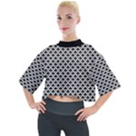 Black and white Triangles pattern, geometric Mock Neck Tee