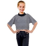 Black and white Triangles pattern, geometric Kids Mock Neck Tee