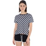 Black and white Triangles pattern, geometric Open Back Sport Tee