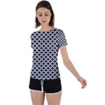 Black and white Triangles pattern, geometric Back Circle Cutout Sports Tee