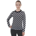 Black and white Triangles pattern, geometric Women s Pique Long Sleeve Tee