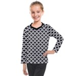 Black and white Triangles pattern, geometric Kids  Long Mesh Tee