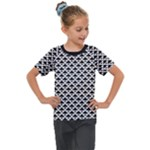 Black and white Triangles pattern, geometric Kids  Mesh Piece Tee