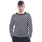 Black and white Triangles pattern, geometric Men s Long Sleeve Raglan Tee