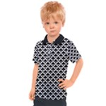 Black and white Triangles pattern, geometric Kids  Polo Tee