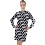 Black and white Triangles pattern, geometric Long Sleeve Hoodie Dress