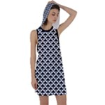 Black and white Triangles pattern, geometric Racer Back Hoodie Dress