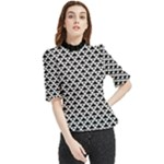 Black and white Triangles pattern, geometric Frill Neck Blouse