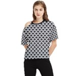 Black and white Triangles pattern, geometric One Shoulder Cut Out Tee