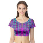 Tropical Rainbow Fishes  In Meadows Of Seagrass Short Sleeve Crop Top