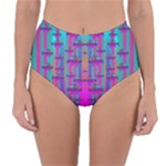 Tropical Rainbow Fishes  In Meadows Of Seagrass Reversible High-Waist Bikini Bottoms