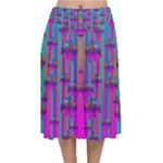 Tropical Rainbow Fishes  In Meadows Of Seagrass Velvet Flared Midi Skirt