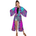 Tropical Rainbow Fishes  In Meadows Of Seagrass Maxi Kimono