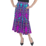 Tropical Rainbow Fishes  In Meadows Of Seagrass Midi Mermaid Skirt