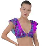 Tropical Rainbow Fishes  In Meadows Of Seagrass Plunge Frill Sleeve Bikini Top