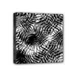 Tropical leafs pattern, black and white jungle theme Mini Canvas 4  x 4  (Stretched)