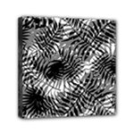 Tropical leafs pattern, black and white jungle theme Mini Canvas 6  x 6  (Stretched)