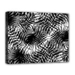Tropical leafs pattern, black and white jungle theme Canvas 14  x 11  (Stretched)