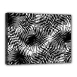 Tropical leafs pattern, black and white jungle theme Canvas 16  x 12  (Stretched)