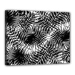 Tropical leafs pattern, black and white jungle theme Canvas 20  x 16  (Stretched)