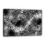 Tropical leafs pattern, black and white jungle theme Canvas 18  x 12  (Stretched)