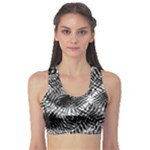 Tropical leafs pattern, black and white jungle theme Sports Bra