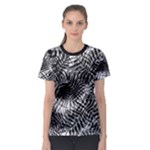 Tropical leafs pattern, black and white jungle theme Women s Sport Mesh Tee