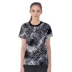 Tropical leafs pattern, black and white jungle theme Women s Cotton Tee