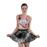 Tropical leafs pattern, black and white jungle theme Mini Skirt