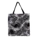 Tropical leafs pattern, black and white jungle theme Grocery Tote Bag
