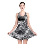 Tropical leafs pattern, black and white jungle theme Reversible Skater Dress