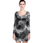 Tropical leafs pattern, black and white jungle theme Long Sleeve Bodycon Dress