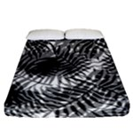 Tropical leafs pattern, black and white jungle theme Fitted Sheet (Queen Size)