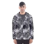 Tropical leafs pattern, black and white jungle theme Men s Hooded Windbreaker