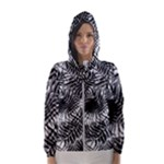 Tropical leafs pattern, black and white jungle theme Women s Hooded Windbreaker