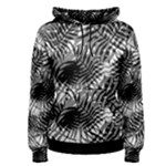 Tropical leafs pattern, black and white jungle theme Women s Pullover Hoodie