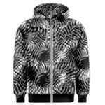 Tropical leafs pattern, black and white jungle theme Men s Zipper Hoodie