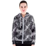 Tropical leafs pattern, black and white jungle theme Women s Zipper Hoodie