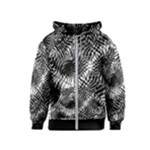 Tropical leafs pattern, black and white jungle theme Kids  Zipper Hoodie
