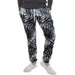Tropical leafs pattern, black and white jungle theme Men s Jogger Sweatpants