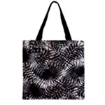 Tropical leafs pattern, black and white jungle theme Zipper Grocery Tote Bag