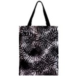 Tropical leafs pattern, black and white jungle theme Zipper Classic Tote Bag