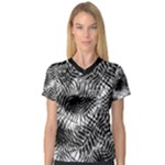 Tropical leafs pattern, black and white jungle theme V-Neck Sport Mesh Tee