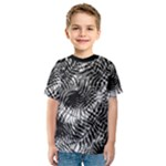 Tropical leafs pattern, black and white jungle theme Kids  Sport Mesh Tee